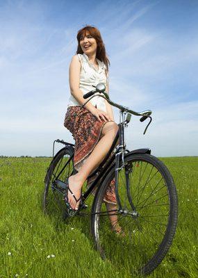 Girl on Vintage Bicycle